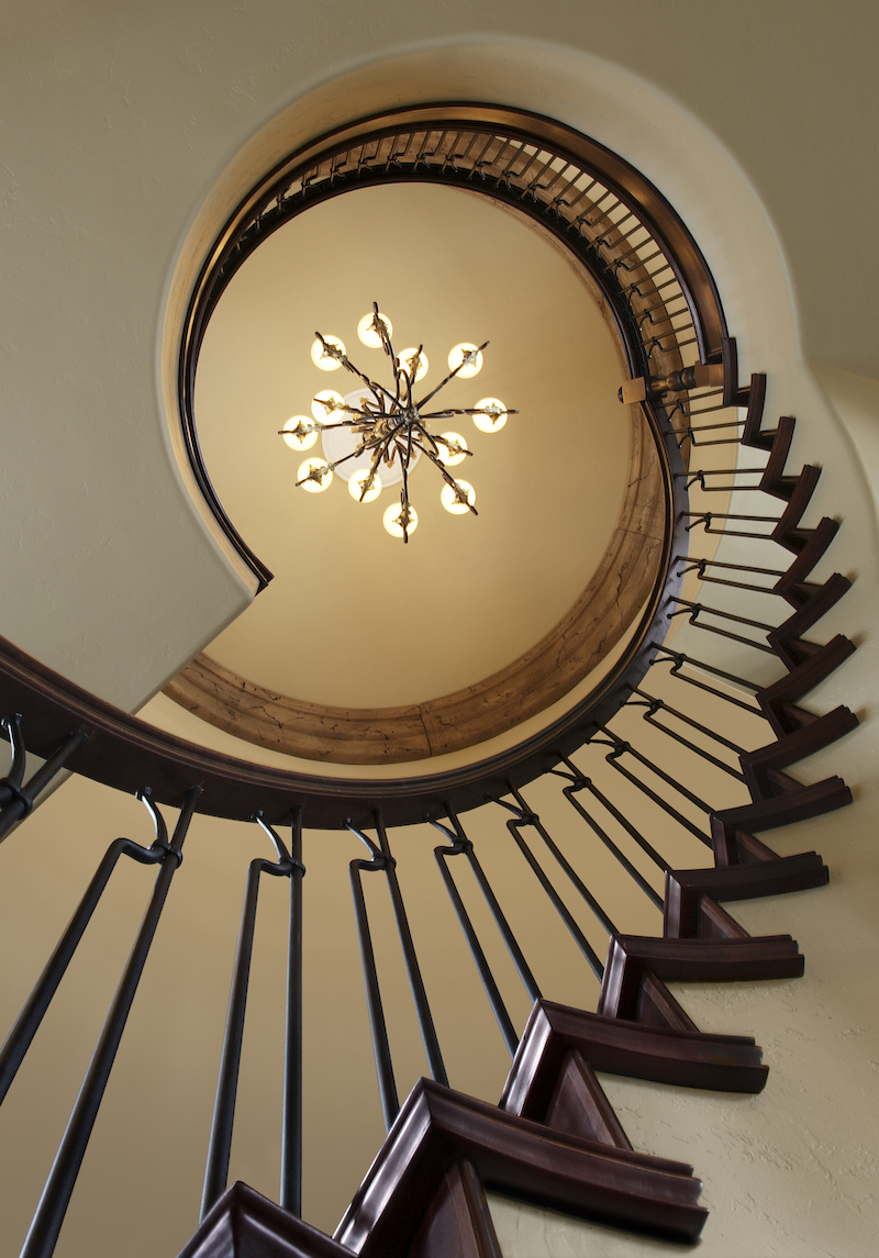 Residential spiral staircase in a modern upscale home